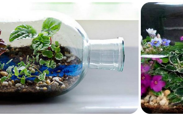 декор стеклянной бутылки сад