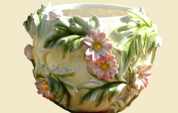 Кашпо с цветами круглое