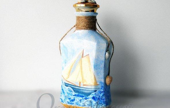 декупаж бутылки в морском