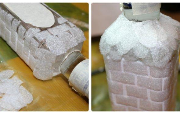 Праздничное украшение бутылки