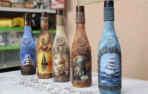 Декор бутылки шампанского к